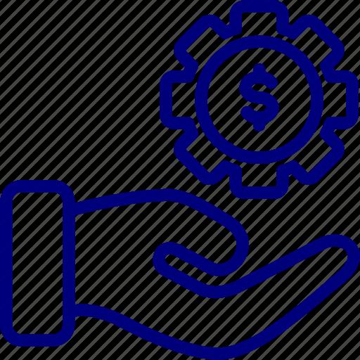 bukeicon, gear, hand, service, setting icon