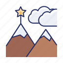 goal, mountains, star icon