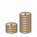 coins, dollars, money