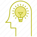 brain, bulb, head, idea, think icon