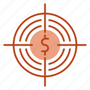 focus, funds, goal, hunting, target icon