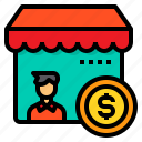 accounting, currency, marketing, money, store icon