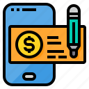 cheque, commerce, online, payment, smartphone