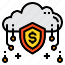 cloud, money, online, security, shield icon