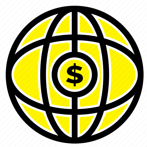 dollar, globe, internet, world icon