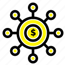 connection, dollar, financial, money, seeding icon