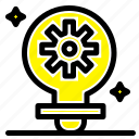 bulb, gear, light, setting icon