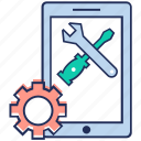 mobile configuration, online maintenance, phone repair, phone setting, service tools icon