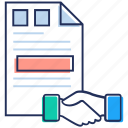 agreement, business document, contract, deal, hand shake icon