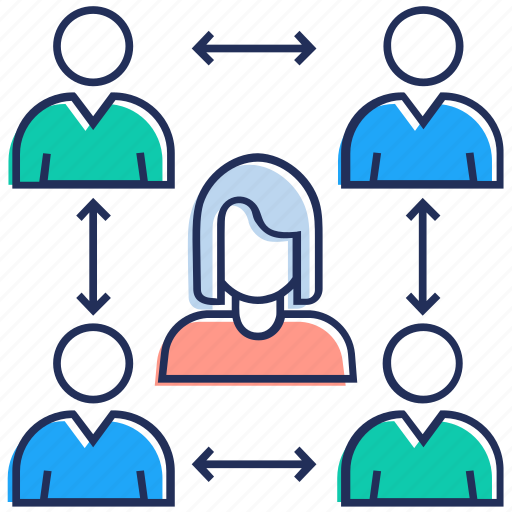 collaboration, group communication, people group, team discussion, team leader icon