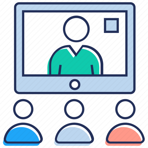 business discussion, convention, online seminar, video conference, video meeting icon