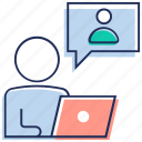live chat, online meeting, video calling, video communication, video conversation icon