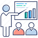 business chart, business meeting, business presentation, statistics, trend analysis icon