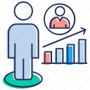 employee growth, growth chart, promotion, raise, success icon