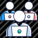 desk worker, employee, office desk, office staff, teamwork, working icon