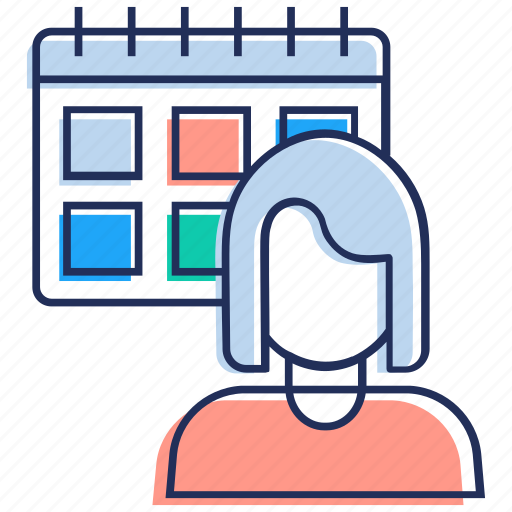 appointment, calendar, female, schedule, timetable icon