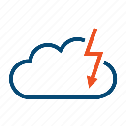 attack, cloud, danger, data, hack, hacks, server, threat, thunder icon