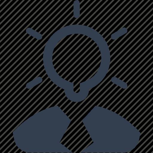 avatar, bulb, business, electric, head, ideea, light, lighting, lightning, man, management, person, strategy, user icon