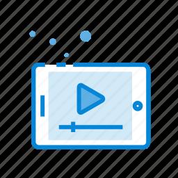 marketing, media, play, seo, tablet, video icon