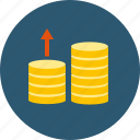 costs, expenses, income, increase, profit, sales, up, budget, coins, earnings, growth, invest, money, sales up, rise, accrue icon