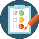 answer, feedback, form, smiles, survey, test, vote, client loyalty, mark, rank, review, satisfaction, satisfied, status, take test, testimonials, variation, voting, opinion icon