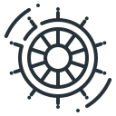 control, manage, management, steering wheel icon