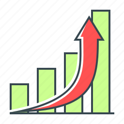 arrow, chart, diagram, graph, growth, line icon