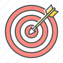 aim, arrow, goal, line, purpose, target, targeting icon