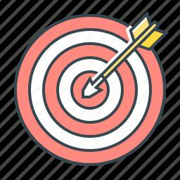 aim, arrow, goal, line, purpose, target, targeting icon