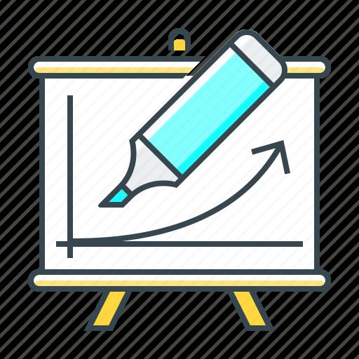 courses, education, felt-tip pen, flipchart, line, schedule, training icon