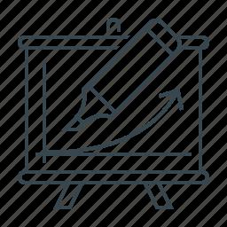 arrow, courses, flipchart, training icon