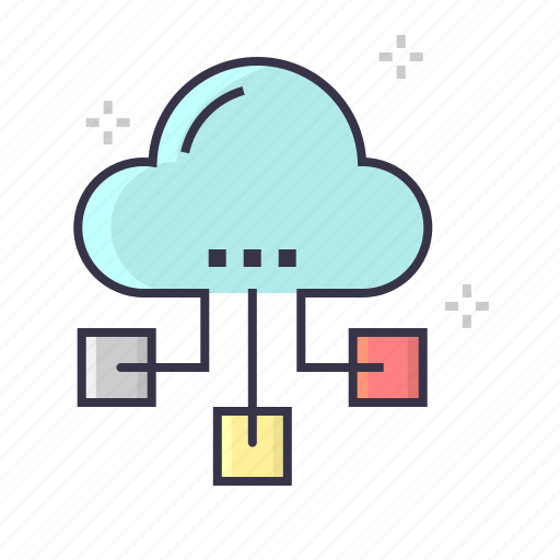 cloud, interconnection, internet, marketing, network, node icon