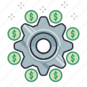 business, dollars, finance, marketing, money, setting, settlement icon
