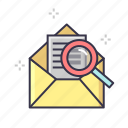 email, letter, news, optimization, paper, search icon