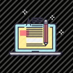 blog, computer, information, laptop, management, pencil, text icon