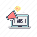 advertising, broadcast, ecommerce, laptop, online, sale, speaker icon