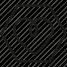 heart, hexagon, love, shape icon