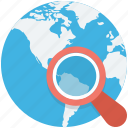 find place, globe, local seo, magnifier, search location icon