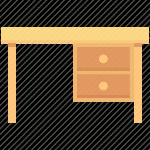 bureau, desk drawer, furniture, office desk, study desk icon