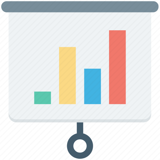 business graph, flipchart, growth chart, presentation, projection screen icon