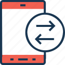 data sharing, data transfer, data transmission, mobile, mobile data icon