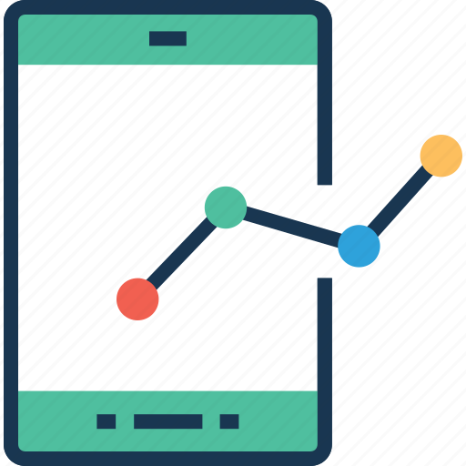 infographic, mobile, mobile graph, mobile stats, online graph icon