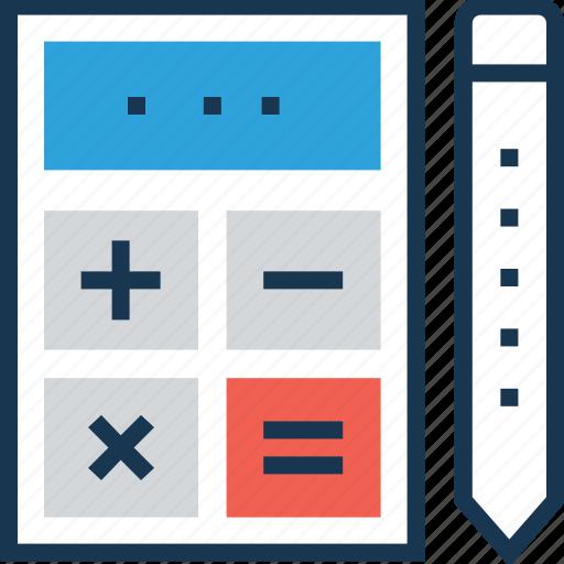 accounting, calculating device, calculator, digital calculator, pencil icon