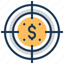 aim, crosshair, funds hunting, goal, target icon