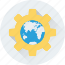 cog, earth, globe, internet setting, preferences icon