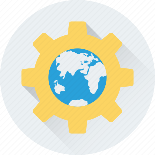 cog, earth, globe, internet setting, preferences icon