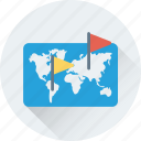 flag, location, map, placeholder, pointing icon