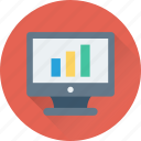 bar chart, bar graph, graph screen, monitor, online graph icon