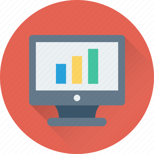 bar chart, bar graph, graph screen, monitor, online graph icon