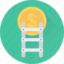 dollar, finance, income, ladder, profit icon